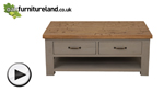 Watch Clermont Painted Rough Sawn Solid Oak 4 Drawer Storage Coffee Table video