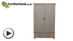 Watch Clermont Painted Rough Sawn Solid Oak Double Wardrobe video