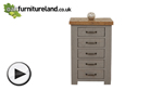 Watch Clermont Painted Rough Sawn Solid Oak 5 Drawer Chest video