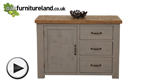 Watch Clermont Painted Rough Sawn Solid Oak Storage Cabinet video