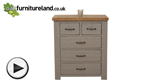 Watch Clermont Painted Rough Sawn Solid Oak 2+3 Chest of Drawers video
