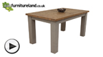 "Watch Clermont Painted Rough Sawn Solid Oak 5ft 10"" x 3ft Large Extending Dining Table video"