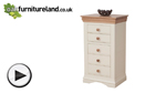 Watch Country Cottage Natural Oak and Painted 5 Drawer Chest video