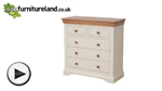 Watch Country Cottage Natural Oak and Painted 3+2 Chest of Drawers video