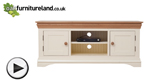 Watch Country Cottage Natural Oak and Painted Widescreen TV Cabinet video