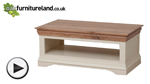 Watch Country Cottage Natural Oak and Painted Coffee Table video