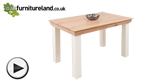 Watch Country Cottage Natural Oak and Painted 4ft Dining Table video