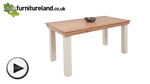Watch Country Cottage Natural Oak and Painted 6ft Dining Table video