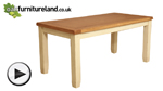 "Watch Phoenix Shabby Chic Rustic Oak and Painted 5ft 6"" x 2ft 9"" Dining Table video"