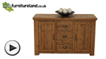 Watch Ripley Rough Sawn Solid Oak Large Sideboard video