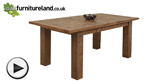 "Watch Ripley Rough Sawn Solid Oak 5ft 10"" x 3ft Extending Table video"
