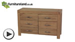 Watch Alto Natural Solid Oak 6 Drawer Wide Chest video