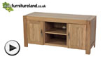 Watch Alto Natural Solid Oak Widescreen TV Cabinet video
