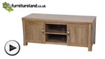 Watch Andorra Natural Solid Oak Widescreen TV + DVD Cabinet video