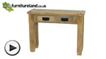 Watch Baku Light Natural Solid Mango 2 Drawer Console Table video