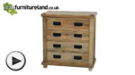 Watch Baku Light Natural Solid Mango 4 Drawer Chest video