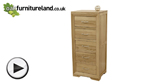 Watch Bevel Natural Solid Oak Tall 5 Drawer Chest video