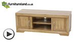 Watch Bevel Solid Oak Widescreen TV + DVD Cabinet video