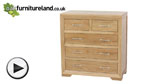 Watch Bevel Natural Solid Oak 5 Drawer Chest video