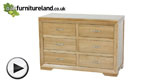 Watch Bevel Natural Solid Oak 6 Drawer Chest video