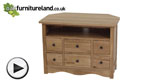 Watch Cairo Natural Solid Oak Corner TV + DVD Cabinet video