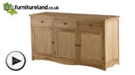 Watch Cairo Natural Solid Oak Large Sideboard video