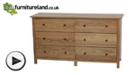 Watch Cairo Natural Solid Oak Wide 6 Drawer Chest video