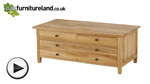Watch Chaucer Solid Oak Coffee Table with Storage video