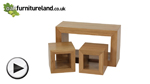 Watch Cairo Natural Solid Oak Set of 3 Cube Nest of Tables video