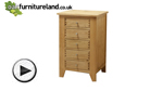 Watch Dovedale Solid Oak 5 Drawer Chest video