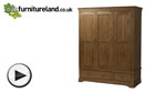 Watch French Farmhouse Solid Oak Triple Wardrobe video