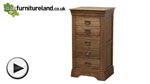 Watch French Farmhouse Solid Oak 5 Drawer Chest video