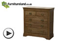 Watch French Farmhouse Rustic Solid Oak 3+2 Drawer Chest video