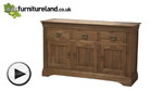 Watch French Farmhouse Rustic Solid Oak Large Sideboard video