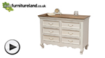 Watch French Shabby Chic Solid Mango Wide 6 Drawer Chest video