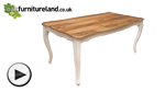 "Watch French Shabby Chic Solid Mango 5ft 6"" x 3ft Dining Table video"