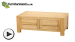 Watch Fresco Natural Solid Oak 2 Drawer Storage Coffee Table video