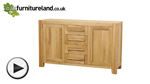 Watch Fresco Natural Solid Oak Large Sideboard video