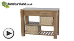 Watch Galway Natural  Solid Oak Console Table with Storage video