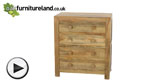 Watch Mantis Light Natural Solid Mango 4 Drawer Chest video