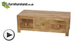 Watch Mantis Light Natural Solid Mango 6 Drawer Storage Coffee Table video