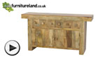 Watch Mantis Light Solid Mango 6 Drawer Sideboard video