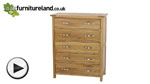Watch Newark Natural Solid Oak 5 Drawer Chest video