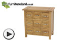 Watch Newark Solid Oak 9 Drawer Storage Chest video