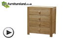 Watch Oakdale Natural Solid Oak 4 Drawer Chest video