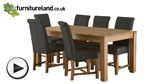 Watch Oakdale Natural Solid Oak 6ft x 3ft Dining Table + 6 Black Braced Scroll Back Chairs video
