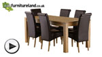 Watch Oakdale Natural Solid Oak 6ft x 3ft Dining Table + 6 Scroll Back Leather Chairs video