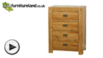 Watch Quercus Solid Oak 4 Drawer Tall Chest video