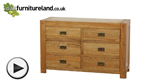 Watch Quercus Solid Oak 6 Drawer Wide Chest video