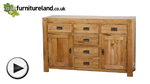 Watch Quercus Rustic Solid Oak 6 Drawer Large Sideboard video